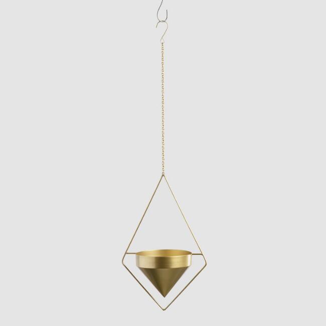 Affordable Outdoor Furniture: Brass Triangular Hanging Planter