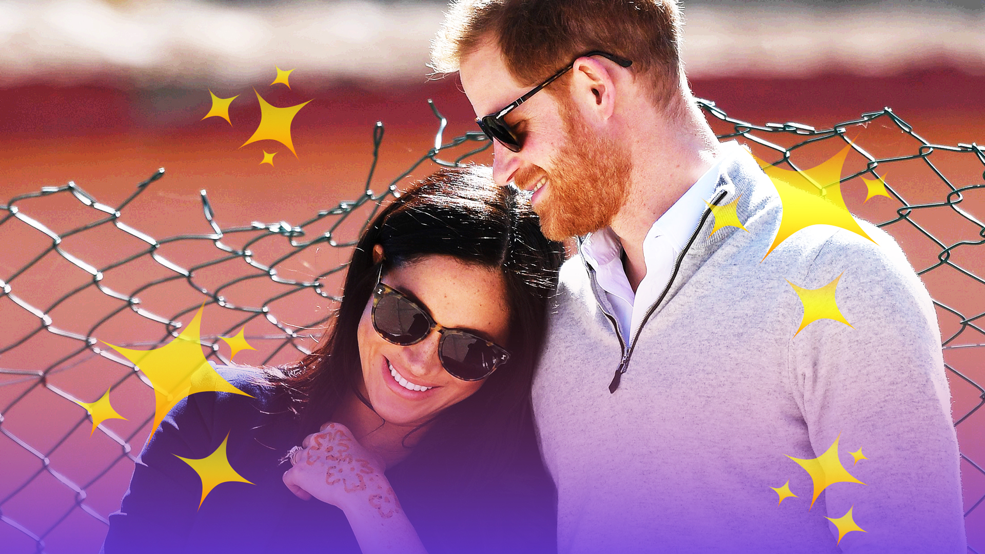 treated image of prince harry and meghan markle