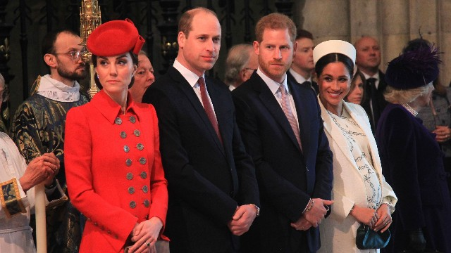Prince William and Catherine Duchess of Cambridge and Prince Harry and Meghan Duchess of Sussex with Camilla Duchess of Cornwall