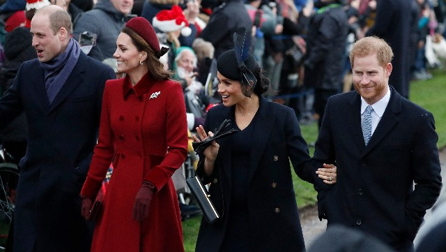 Prince William, left, Catherine Duchess of Cambridge, second left, Meghan Duchess of Sussex and Prince Harry, right, arrive to attend the Christmas day service at St Mary Magdalene Church in Sandringham in Norfolk, England