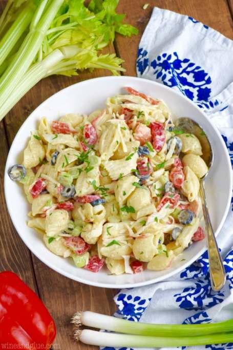Crab pasta salad.