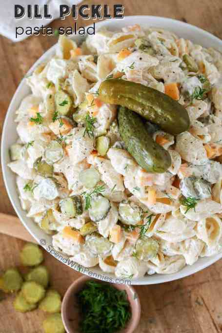 Dill pickle pasta salad.