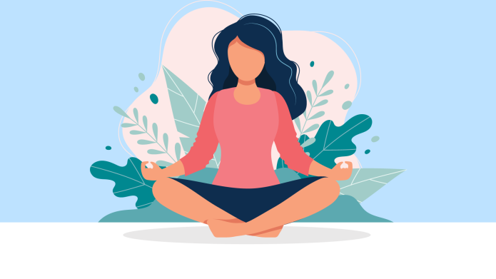 Illustration of woman meditating
