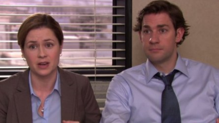 Jenna Fischer and John Krasinski in