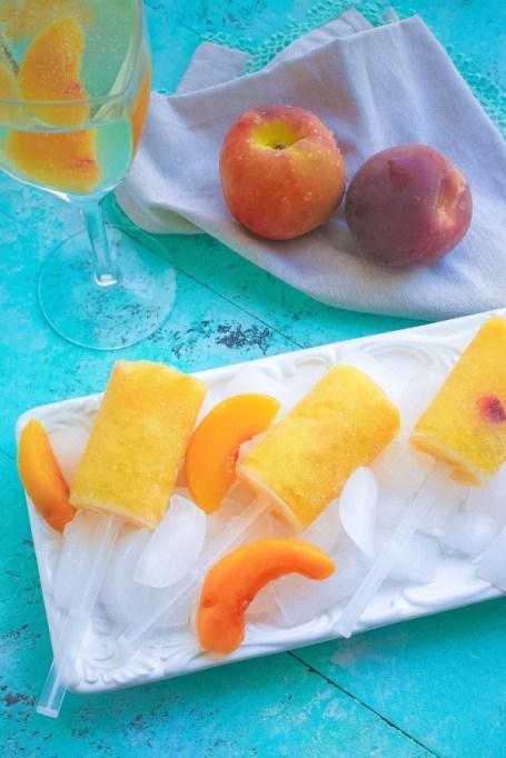 Frozen peach bellini push pops.