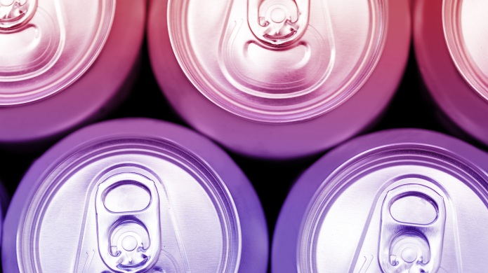 Colorful energy soda drinks cans overhead