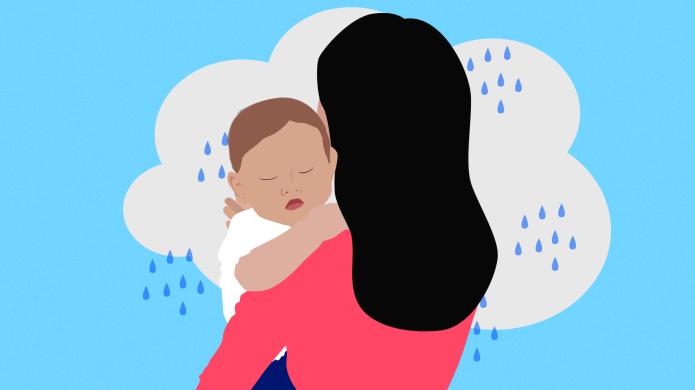 Sad Mom Holding Baby