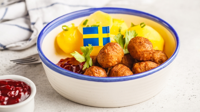 Swedish traditional meatballs with boiled potatoes