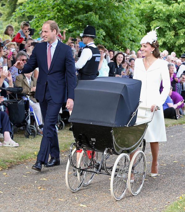 Catherine Duchess of Cambridge, Prince William, Prince William, Princess Charlotte of Cambridge and Prince George arrive at the Church of St Mary MagdaleneThe Christening of Princess Charlotte at St. Mary Magdalene Church in Sandringham, Britain - 05 Jul 2015