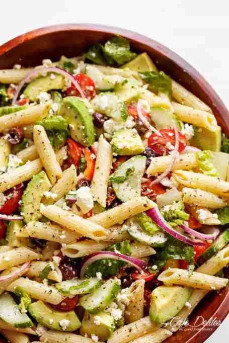 Lemon herb Mediterranean pasta salad.