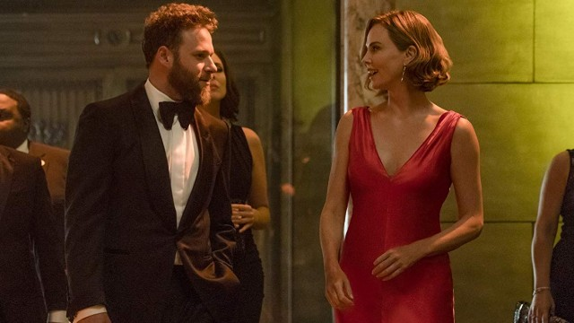 Seth Rogen and Charlize Theron in evening wear in 'Long Shot'