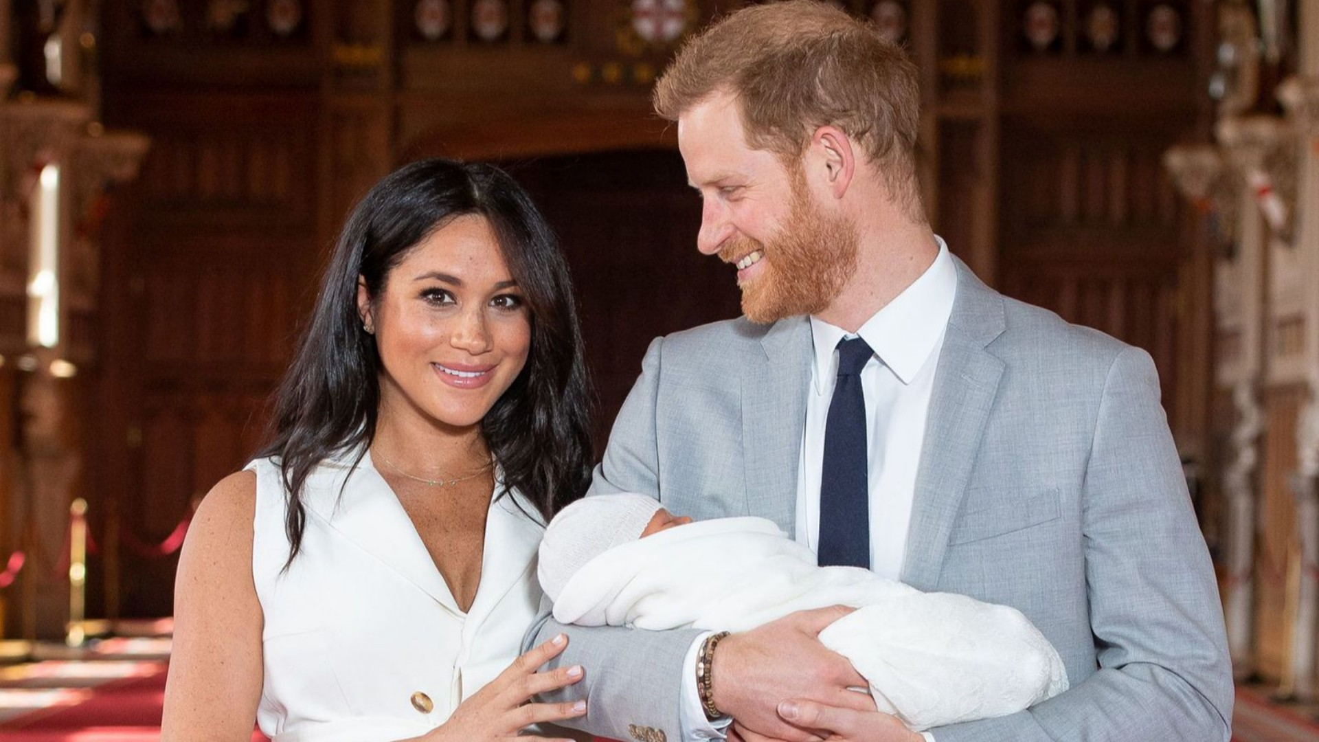 Meghan Markle and Prince Harry in St. George's Hall with Baby Archie