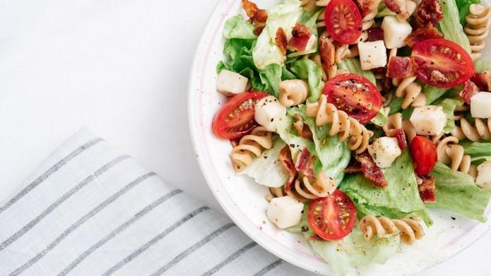 Overhead, close-up shot of BLT pasta