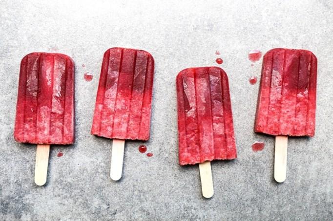 Prosecco raspberry popsicles.