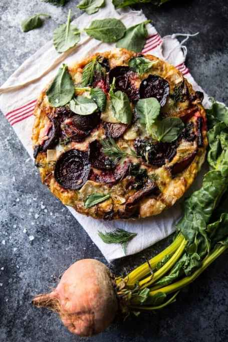 Roasted Beet, Baby Kale & Brie Quiche