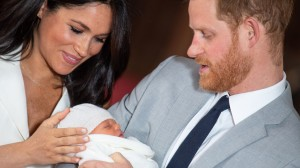 Prince Harry and Meghan Duchess of Sussex pose together with their newborn son Archie Harrison Mountbatten-Windsor in Windsor