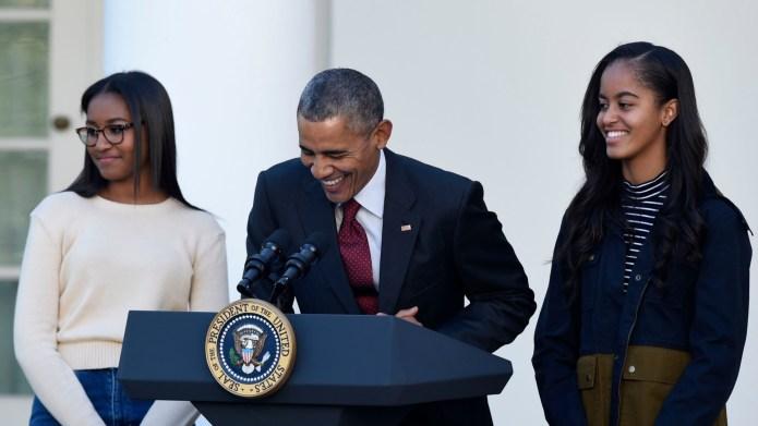 Malia, Barack and Sasha Obama.
