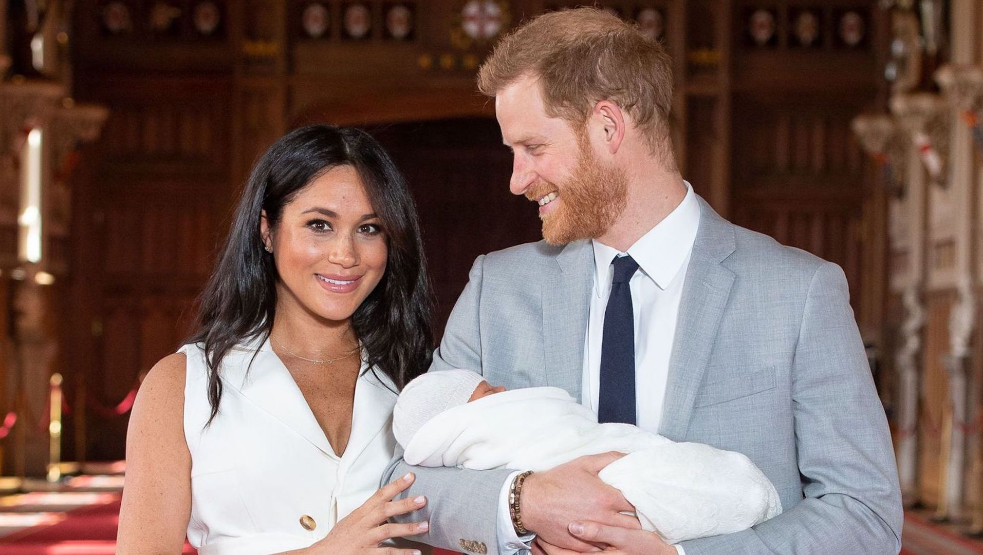 Editorial use only.Mandatory Credit: Photo by Domic Lipinski/PA/EPA-EFE/REX/Shutterstock (10231477g)Prince Harry (R) and Meghan Duchess of Sussex pose together with their newborn son Archie Harrison Mountbatten-Windsor in WindsorPrince Harry and Meghan Duchess of Sussex new baby photocall, Windsor Castle, UK - 08 May 2019