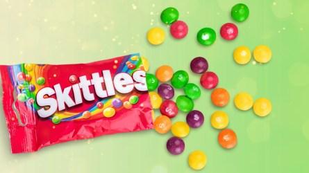 bag of skittles green background