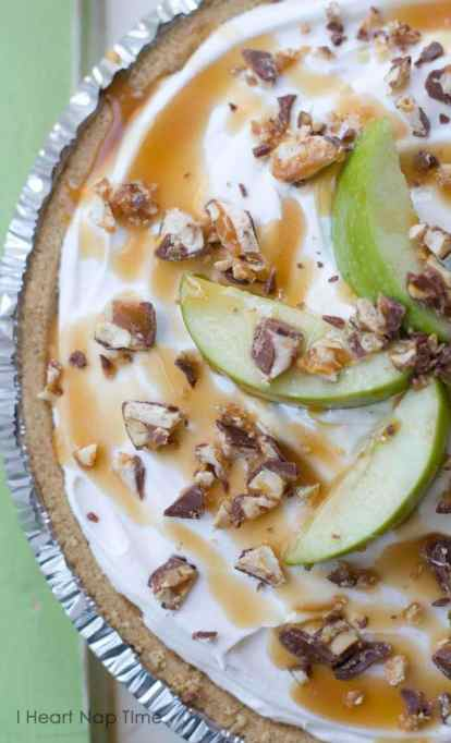 No bake Snickers caramel apple pie.