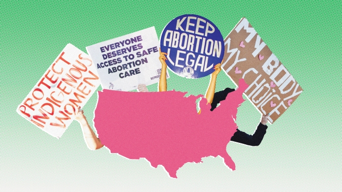 Illustration of a map with pro-choice