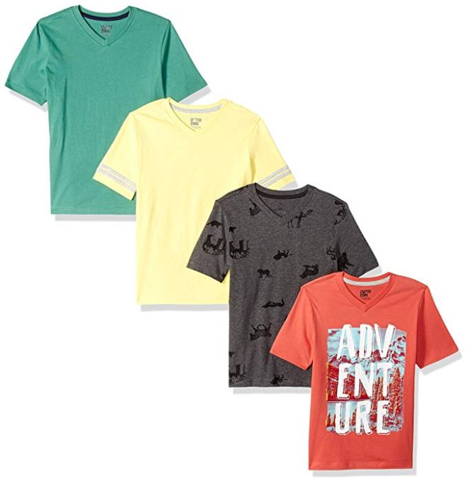 Back-to-School Clothes for Kids: Spotted Zebra Boys' Four-Pack of V-Neck T-Shirts