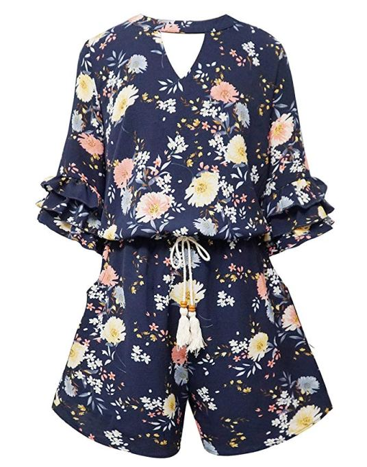 Back-to-School Clothes for Kids: Smukke Tiered Ruffle Romper in Navy Multi