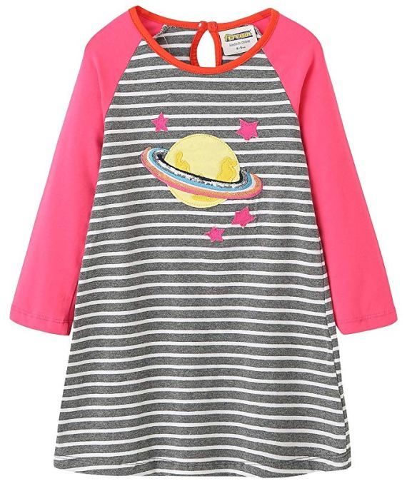 Back-to-School Clothes for Kids: Firearm Cotton Saturn Appliqué Dress in Pink and Grey