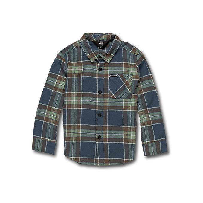 Back-to-School Clothes for Kids: Boys' Volcom Caden Plaid Long-Sleeve Flannel Shirt in Indigo
