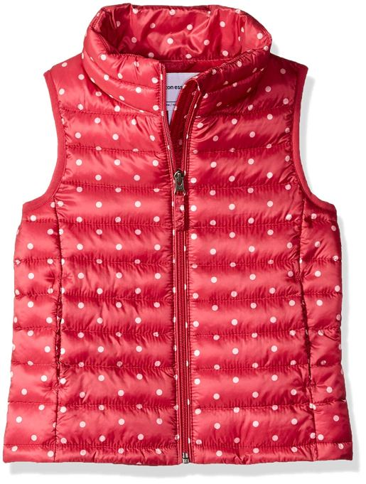 Back-to-School Clothes for Kids: Amazon Essentials Water-Resistant Puff Vest in Pink Polka Dots