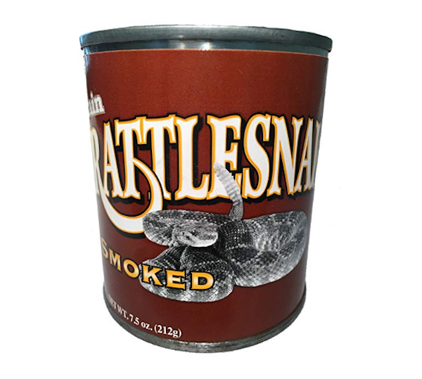 smoked rattlesnake meat can