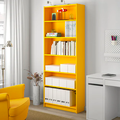 ikea billy bookcase yellow