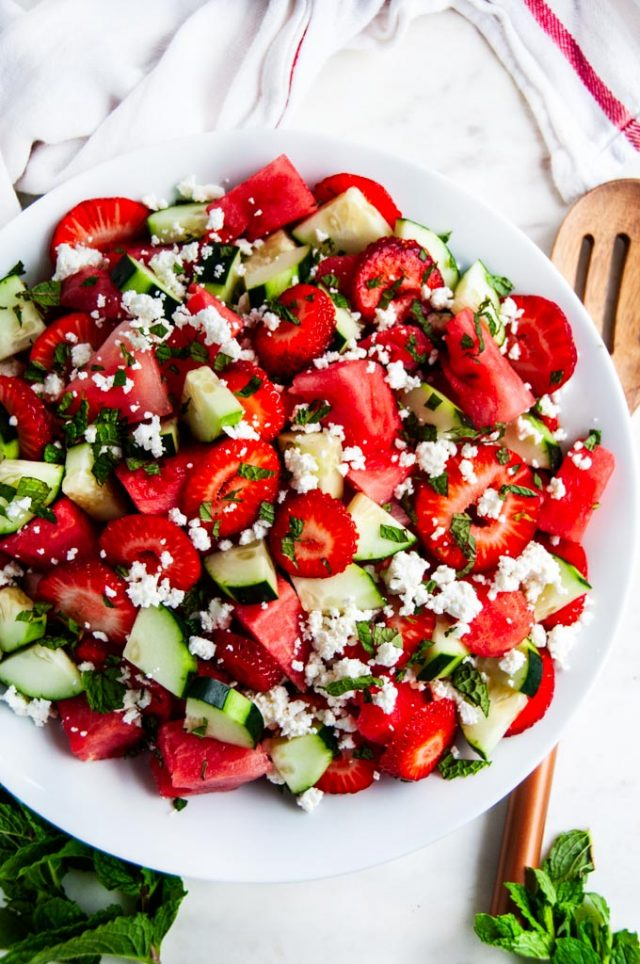 watermelon strawberry cucumber salad
