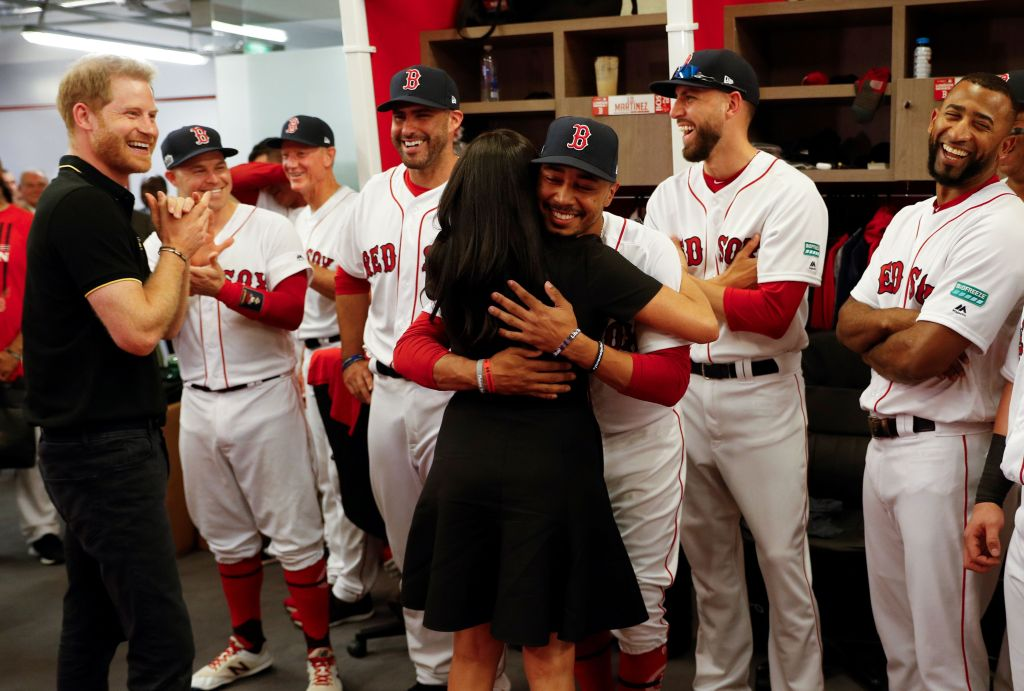 Prince Harry and Meghan Duchess of Sussex meet players of the Boston Red Sox before a game against the New York YankeesBoston Red Sox v New York Yankees baseball match, London Stadium, London, UK - 29 Jun 2019.