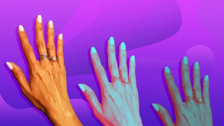 A woman's hand on a purple