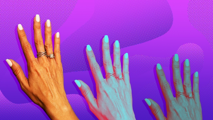 A woman's hand on a purple