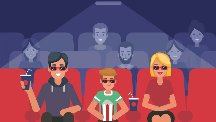 family watching movie illustration