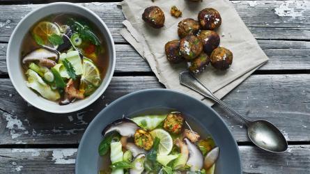 Ikea meatballs, soup, salad
