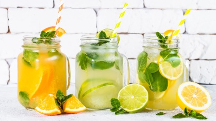 Lemonade set. Lemonade, mojito and orange