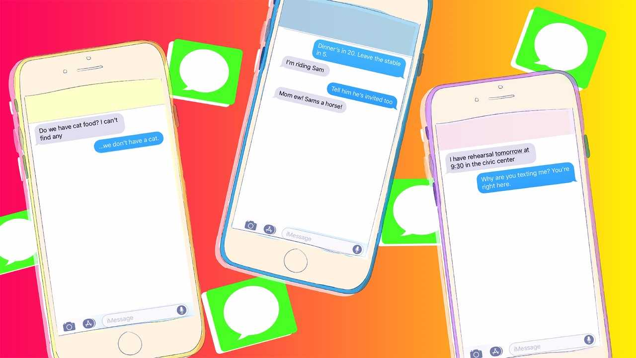 Phones with teen texts on them