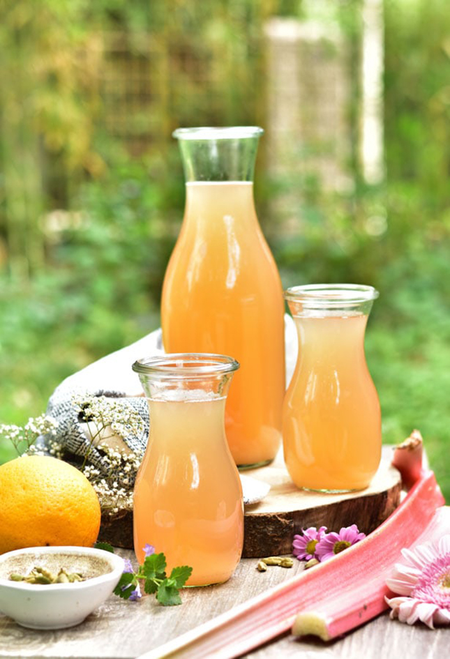 Rhubarb Lemonade with Orange and Cardamom