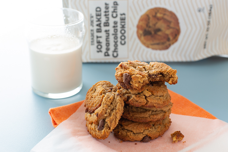 Soft Baked Peanut Butter Chocolate Chip Cookies.