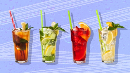 Four drinks on a blue background