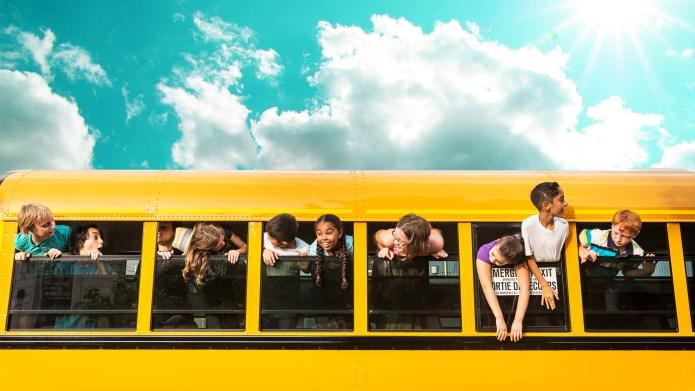 Kids in a school bus