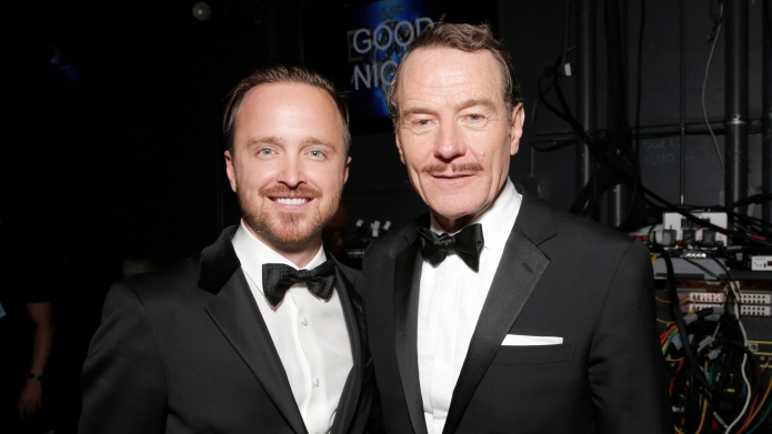 Aaron Paul, left, and Bryan Cranston