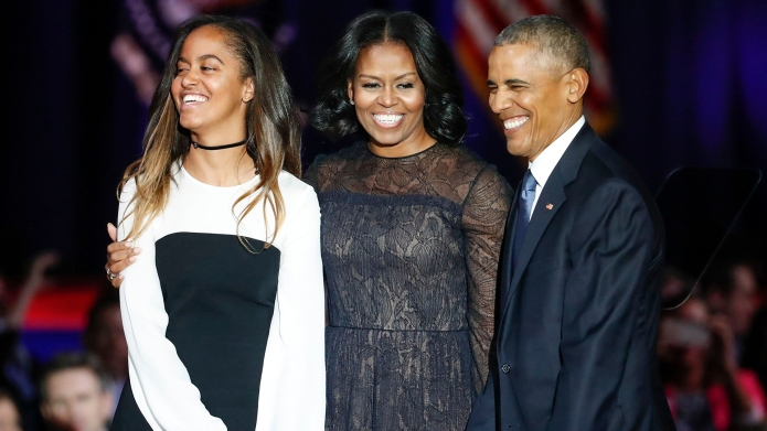 Malia, Michelle, Barack Obama