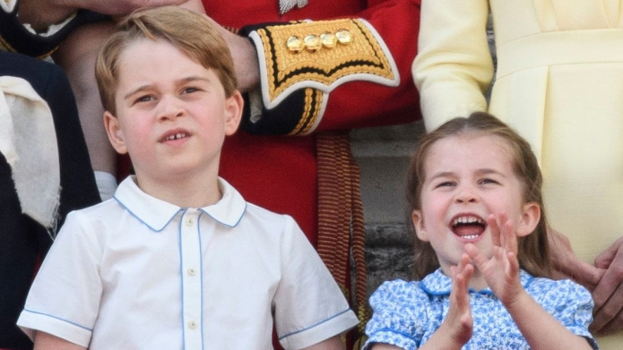 Prince George and Princess Charlotte Trooping