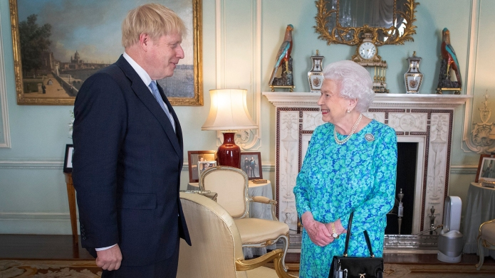 Queen Elizabeth and Boris Johnson