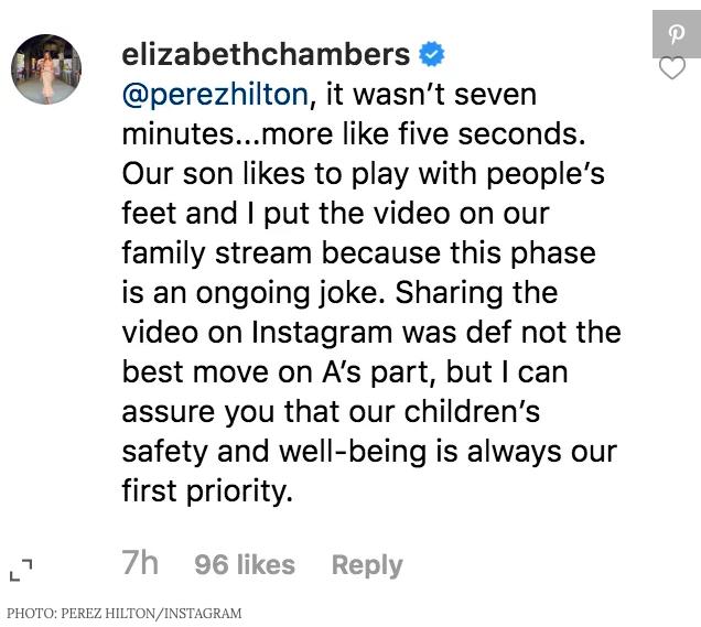 Elizabeth Chambers Hammer on Perez Hilton's Instagram