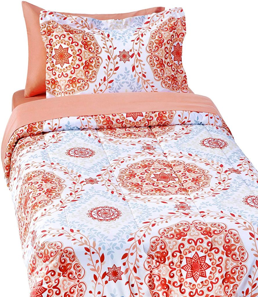Cute Twin XL Bedding: Amazon Basics 5-Piece Bed-In-A-Bag